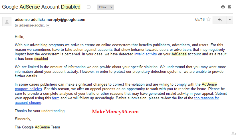 Mail from Google Adsense about Account disable