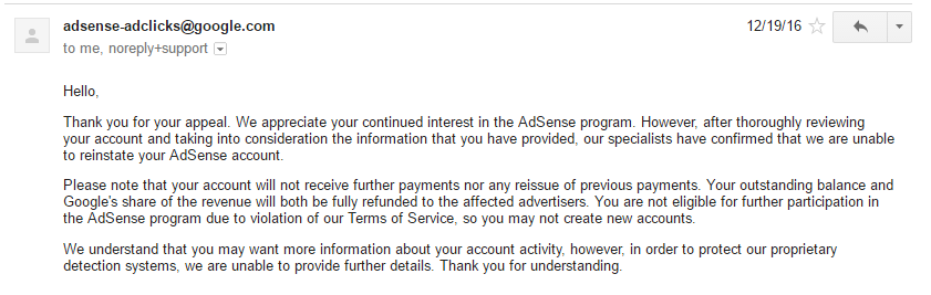 Google adsense invalid activity appeal