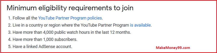 Youtube - Minimum eligibility requirements to join